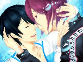 Free! Rin x Haruka. Please, don't cry ~ by NicoleIsCrazy