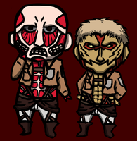 Chibi Colossal and Armoured Titan by Lupoartistico