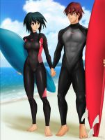 Commission: Gene x Melfina - Surf together by Amenoosa