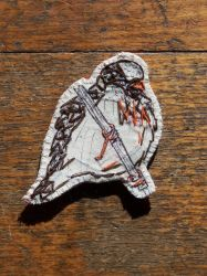 Sparrow embroidered brooch by the-vibrant-city