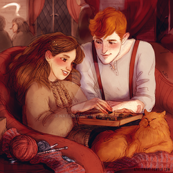 Hermione and Fred by Natello
