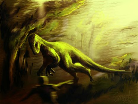 dino chase .. - speed painting by smeetrules