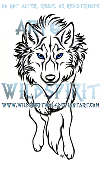 Leaping SheWolf Lineart Design by WildSpiritWolf
