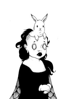 Bunny-headed Young Woman by pink-porcupine