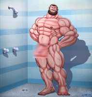 Bluto in shower censored by Blathering