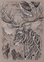 Thranduil's battle elk by Candra