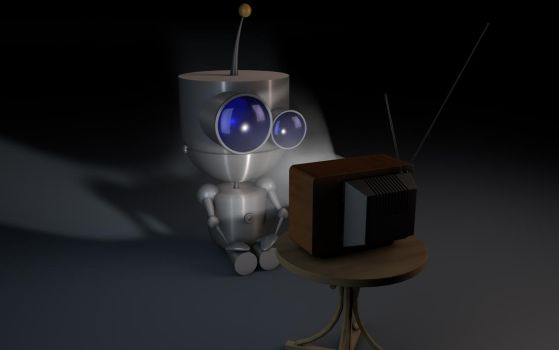 cute robot watching tv by The3DLeopard
