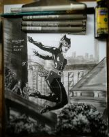 inktober 2017  day one  run with CATWOMAN by darknightsad