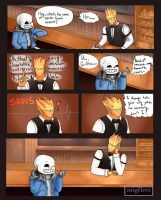 Sans At Grillby's coloured! by MigFleet