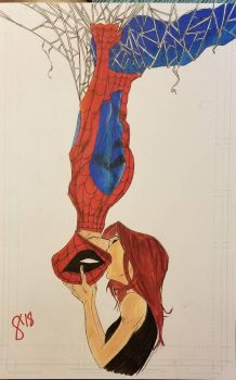 Spiderman and Mary Jane kiss by andyosu20