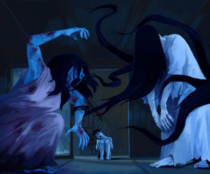 Sadako vs Kayako by tohdraws