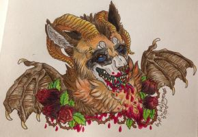 Helloween Headshot 1# hungry Fen by Drache14