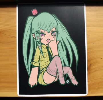 turquoise-haired miku-lookin girl by Maddie6968