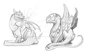 Dragon sketches by LadyFromEast
