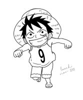 Kid Luffy Line Art by LoochOnTheLoose