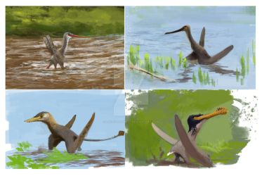 Pterosaur sketches by Lucas-Attwell
