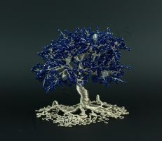 Dark blue bead and silver wire tree sculpture by Twystedroots