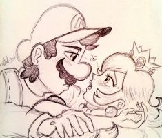 Mario and Peach - Ink Sketch by lefthandlover