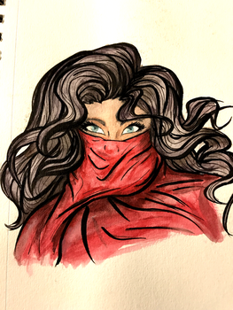 Red Scarf by SweetSketching