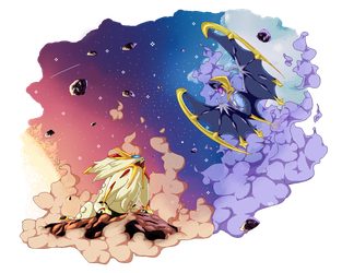 Solgaleo and Lunala by tekochan