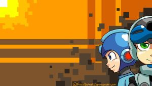 Mighty no.9 and Rockman Wallpaper by FinoRaptor