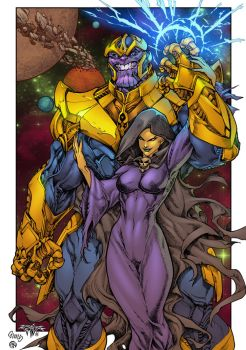 Thanos And Death - colors by ZethKeeper