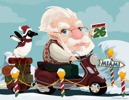 Santa on a vespa by RobtSny