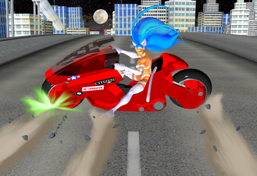 Felicia on Kaneda's Bike by NekoHybrid