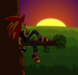 A Lonely Man at Sunset by WhiteBlade-the-Zero