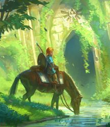 Link and the Forest Temple detail 1 by JeremyFenske