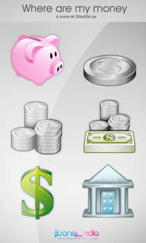 Where Are My Money Icon Set by iconspedia