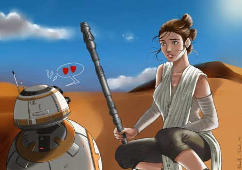 Star wars -  Rey and BB-8 by BlueAquarelle