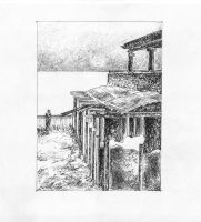 Seaside view with Columns - Sketch no #002 by tutanvaly