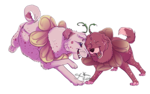Commish . Flower pup couple by ShadowCatsKey