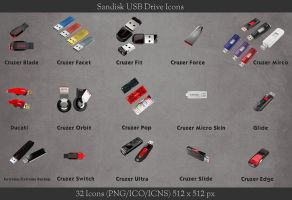 Sandisk USB Drive Icons by ashtray4241