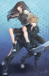 Jump-kick! (FFVII's Cloud and Tifa) by cloverhearts