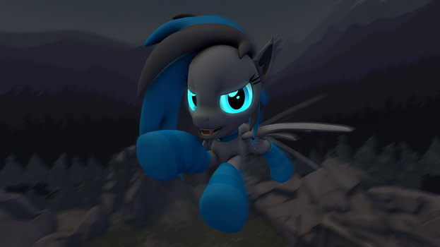 Mareana Sweetie flying at night by GreenishFury