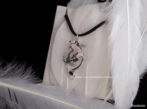 'Trico with malachite',sterling silver pendant by seralune