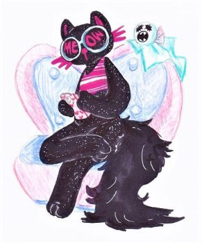 Claires Cat And Ghost by CountFangula