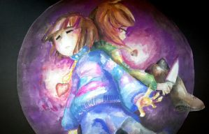 Frisk and Chara [Undertale]-Pacifist or Genocide by lilburee