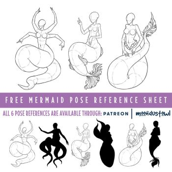 Female mermaid pose reference sheet by moondustowl