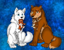 Rinn, Hale and Puppies by Firewolf-Anime