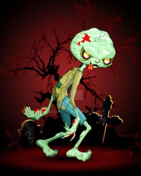 Zombie Creepy Monster Cartoon on Cemetery by Bluedarkat