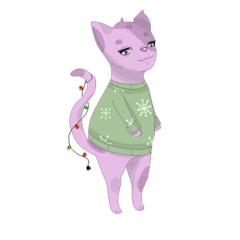 A dumb looking cat in a Christmas sweater by Nyubai