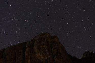 Yosemite Falls spinning under the stars by froggynaan