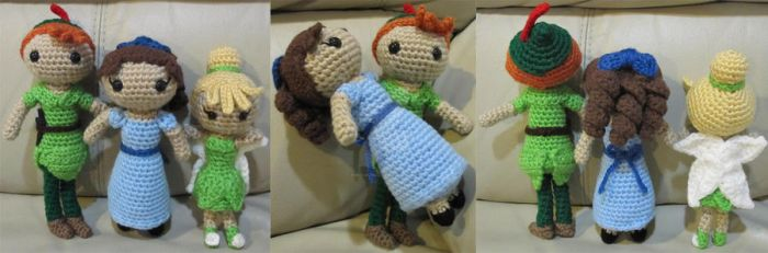 Peter Pan Wendy Darling Tinker Bell Amigurumi by amigurumi4u