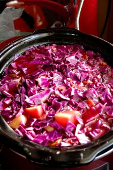 Borscht with freshly added red cabbage by iamwhoiam12