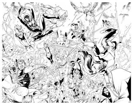 Inks - X-Men/Spider-Man Double Page by Ig Guara by adr-ben