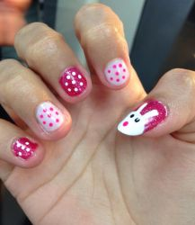Easter pink and white nails  by Prince5s