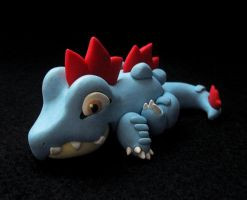 Laying Feraligatr Sculpture
